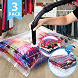 VICOODA Space Saver Vacuum Bags, Vacuum Seal Storage Bags for Clothes & Comforters, Double Zip Seal, Odour & Mold Resistant, Travel Hand Pump Included, 3 Pack