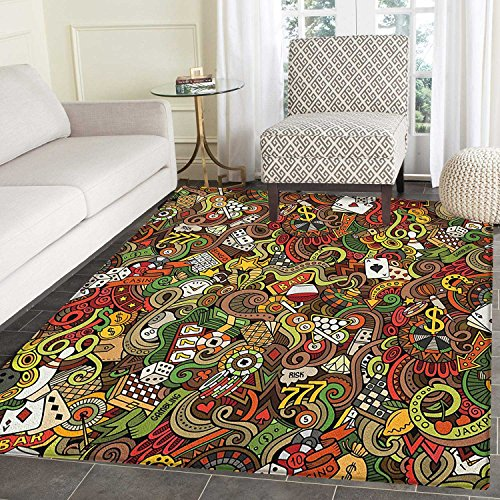 Casino Anti-Skid Area Rug Doodles Style Artwork of Bingo and Cards Excitement Checkers King Tambourine Vegas Door Mat Increase 5'x6' Multicolor -