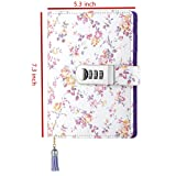 JunShop Floral Password With Lock Diary PU