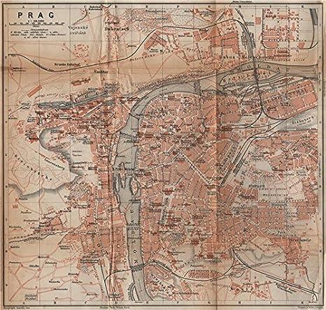 Prague Praha Prag Antique Town City Plan Mesta Czech Republic