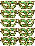 10pcs Set Mardi Gras Half Masquerades Venetian Masks Costumes Party Accessory (green-10pc)