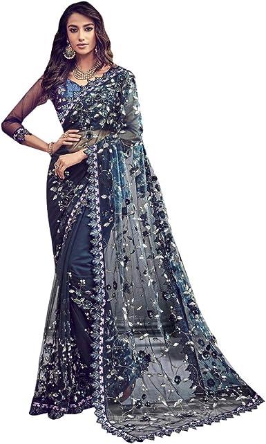 New Festive Saree Designer Sari For Occasions Wear Silk Saree  Party Wear Saree  Saree With Blouse  Blouse With Saree  Blue Color Saree