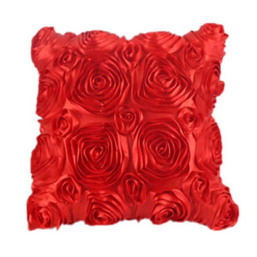 Webla Sofa Pillow Case Cushion Cover, Fashion Floral Decorative Satin Throw Sofa Pillow Case Cushion Covers set (White)