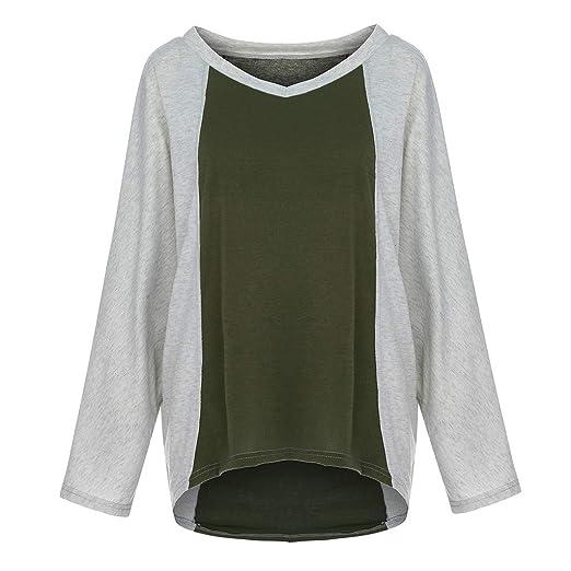 891393a2befb8e iZHH Womens Shirt Casual V-Neck Long Sleeve Patchwork Loose Ladies Tops T- Shirt