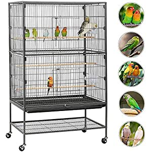 IKAYAA Jaula de Metal para Pájaro Negro Mascotas 47.5 * 48 * 152 ...