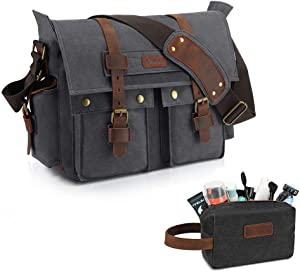 Kattee Military Messenger Bag Canvas Leather Shoulder Bag 15.6 Inch Laptop and Men's Canvas Leather Travel Toiletry Bag