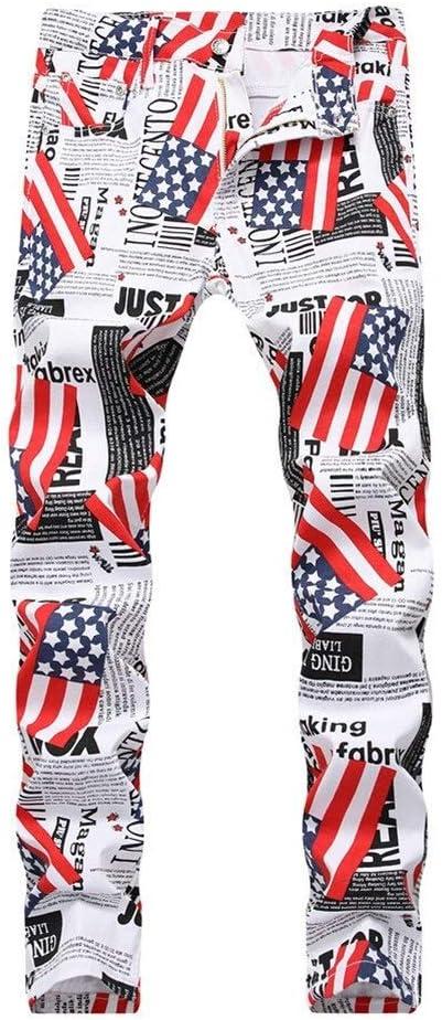 メンズジップワイドパンツ イギリスとアメリカの旗は白い文字ジーンズメンズデニムパンツを印刷します エフェクトライトウォッシュ (Color : B, Size : 30)
