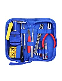 Ohuhu Watch Repair Tool Kit with Strong Storage Case, Microfibre Cleaning Towel (16 pieces)