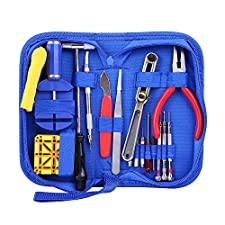 Ohuhu 16 Pcs Professional Watch Repair Tool Kit Case Opener Spring Bar Tool Set, Blue