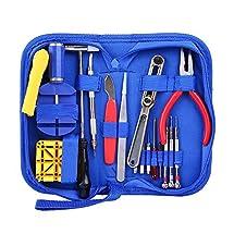 Ohuhu 16 Pcs Professional Watch Repair Tool Kit Case Opener Spring Bar Tool Set Bonus A Hammer Microfibre Cleaning Towel, Blue