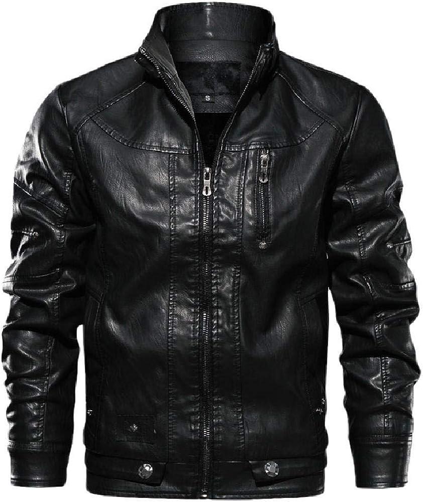 Chaqueta paraHombreFaux Leather Chaquetas y Abrigos para Hombre Marca Casual Manga Larga Sólido Soporte Cremallera Chaqueta de Cuero Outwear
