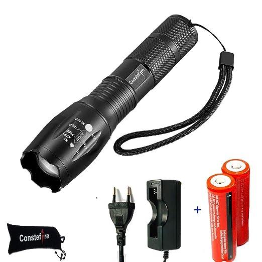 LED Linterna Recargable LED Linternas Alta Potencia, (XML T6,1200 lm,5 Modos,Zoom, resistente al Agua), LED Linternas Camping,LED Linterna Recargable ...