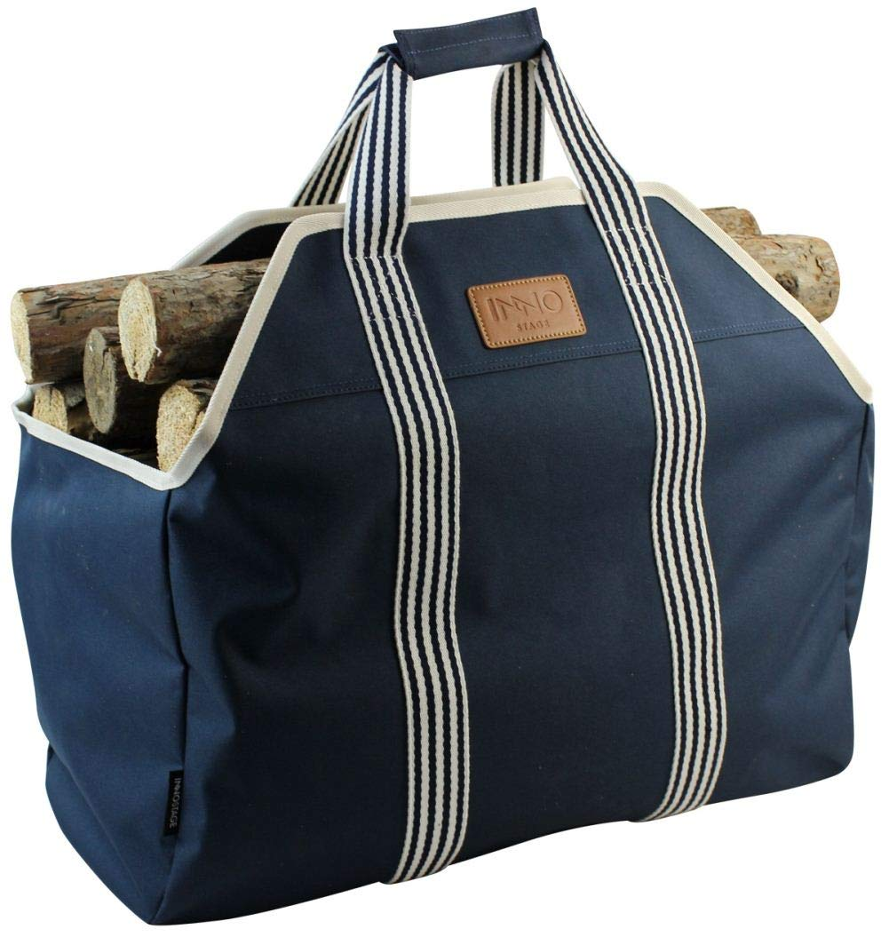 INNO STAGE 600D Extra Big Log Carrier Tote, Durable Firewood Holder,Fireplace Wood Stove Accessories Storage Bag-Blue
