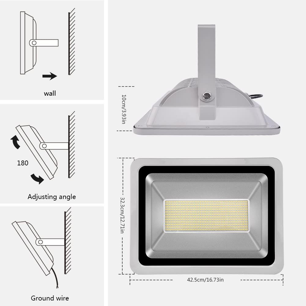CSHITO IP65 10W / 20W / 30W / 50W / 100W / 150W / 200W / 300W LED Projecteur Lumière Floodlight - [Classe énergétique A++] - Blanc froid (6000K) - 4F 300w
