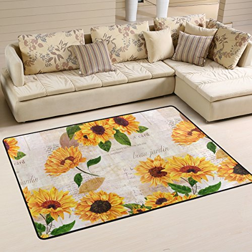 Naanle Vibrant Yellow Sunflowers Area Rug 2'x3', Floral Vintage Style Polyester Area Rug Mat Living Dining Dorm Room Bedroom Home (Floral Polyester Rug)