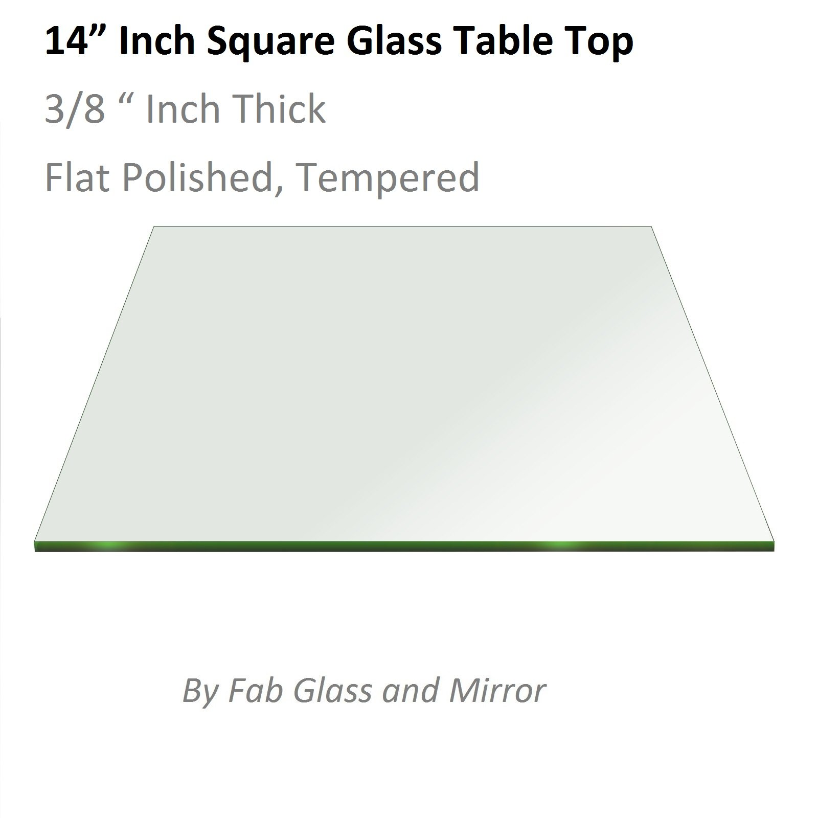 Fab Glass 14'' Inch Square Clear Glass Table Top 3/8'' Thick Flat Polished Tempered Radius Corners