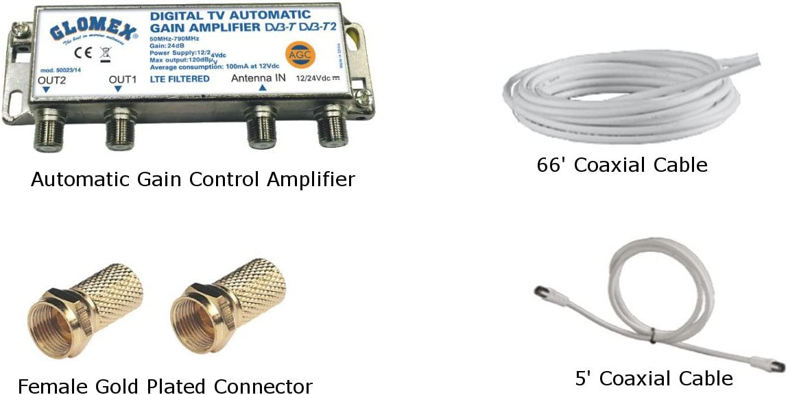 "Glomex 10/"" Dome TV Antenna w//Auto Gain Control /& Mount V9126AGC"