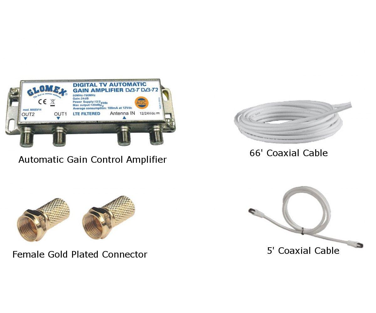 Glomex Nashira V9112AGCU Omnidirectional 14'' TV Marine Antenna with Auto Gain Control