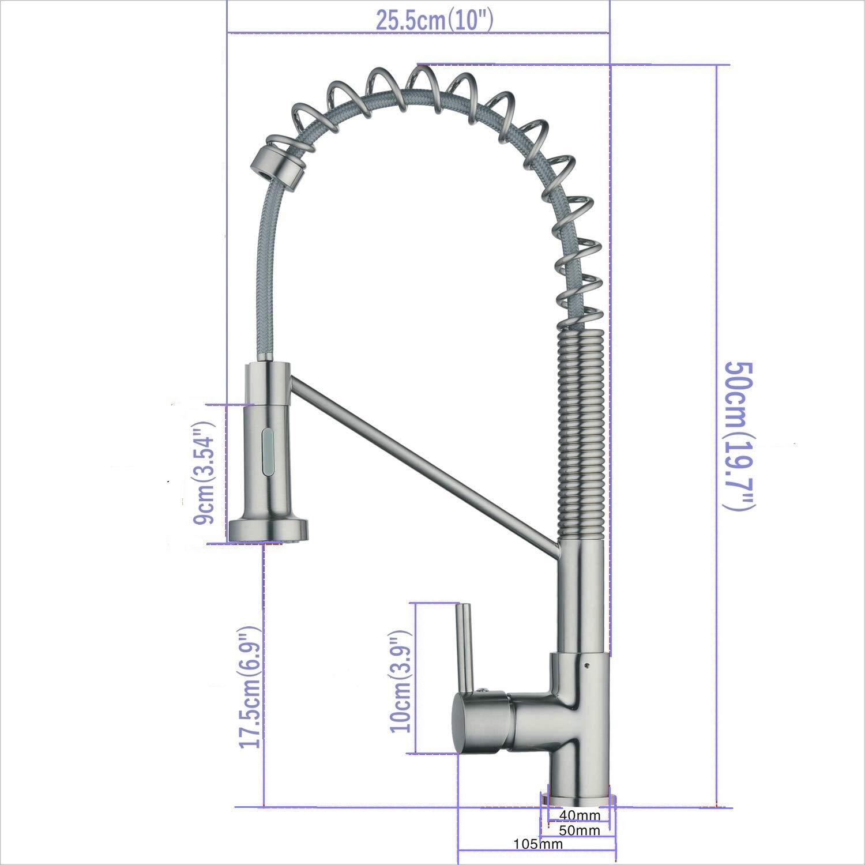 Grifo de cocina comercial negro Grifo giratorio de 360 /° de doble flujo tipo monomando fregadero mezclador arco 1 orificio de montaje Contempor/áneo grifos elegantes