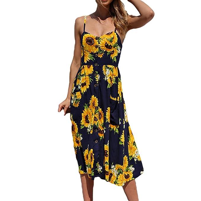 48f7177713c0ad Damen Mode Kleider, Floral Plissee Midi Kleid mit Taschen Sexy Ärmellos  Rückenfrei Schlinge A-