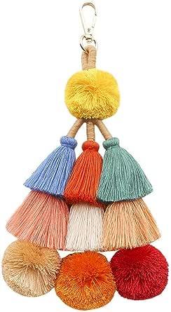 QTMY Cute Pom Pom Tassel Boho Bag Charm Pendant Keyring Keychain for Women Purse Handbag Decor