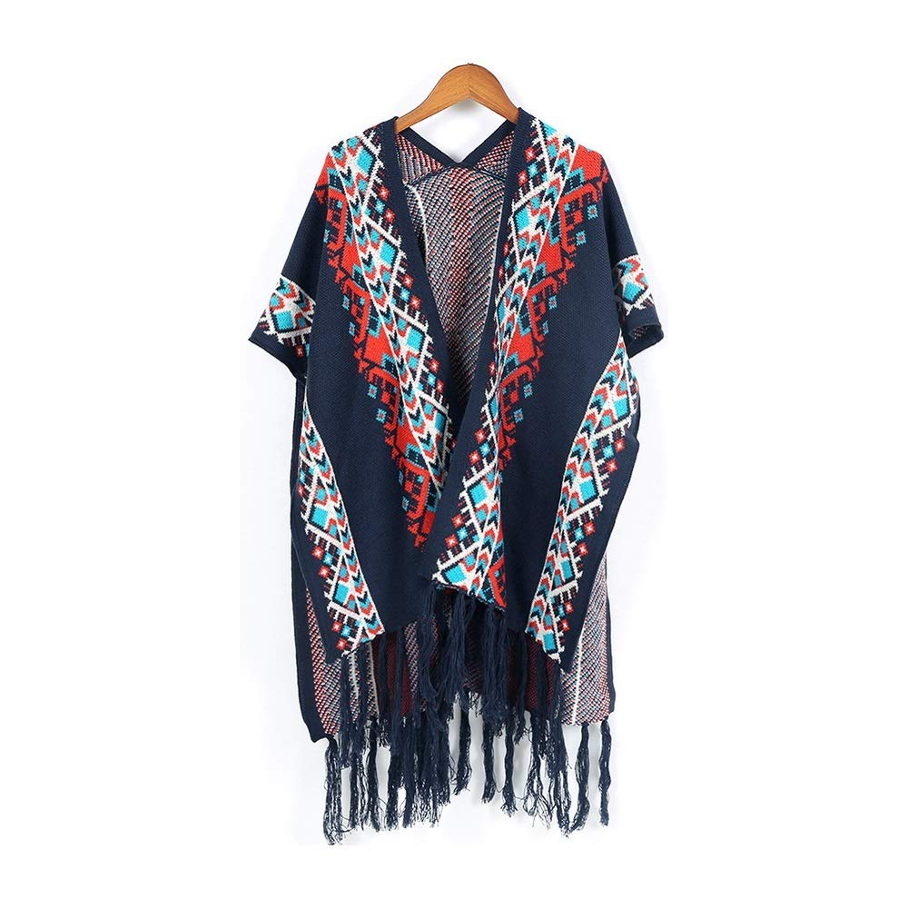 Excellent Women's Fall Winter Scarf Cloak Tassel Cape Mantle Scarf Quick Subdued Kerchief Wrap Shawl Scarves (Color : Black, Size : 51.1 x 59.06 Inch')