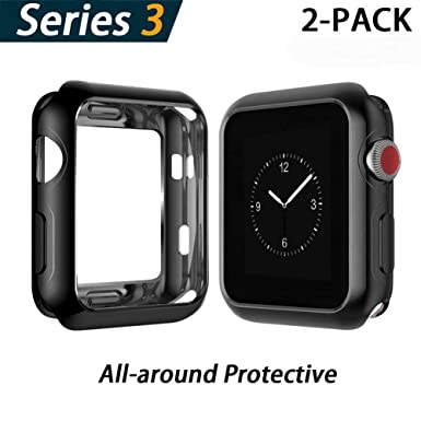 aspetto dettagliato d6d33 8f194 YoLin Apple Watch Series 3 Screen Protector, iwatch Cover Soft Transparent  TPU All-around Protective Case For Apple Watch Series 3 42mm (1 Black + 1  ...