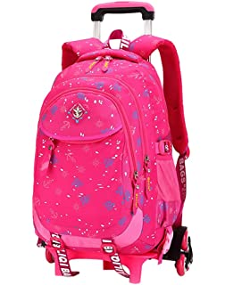 Coofit Rolling Backpack Kids Cute Travel School Book Bag With Detachable Wheels