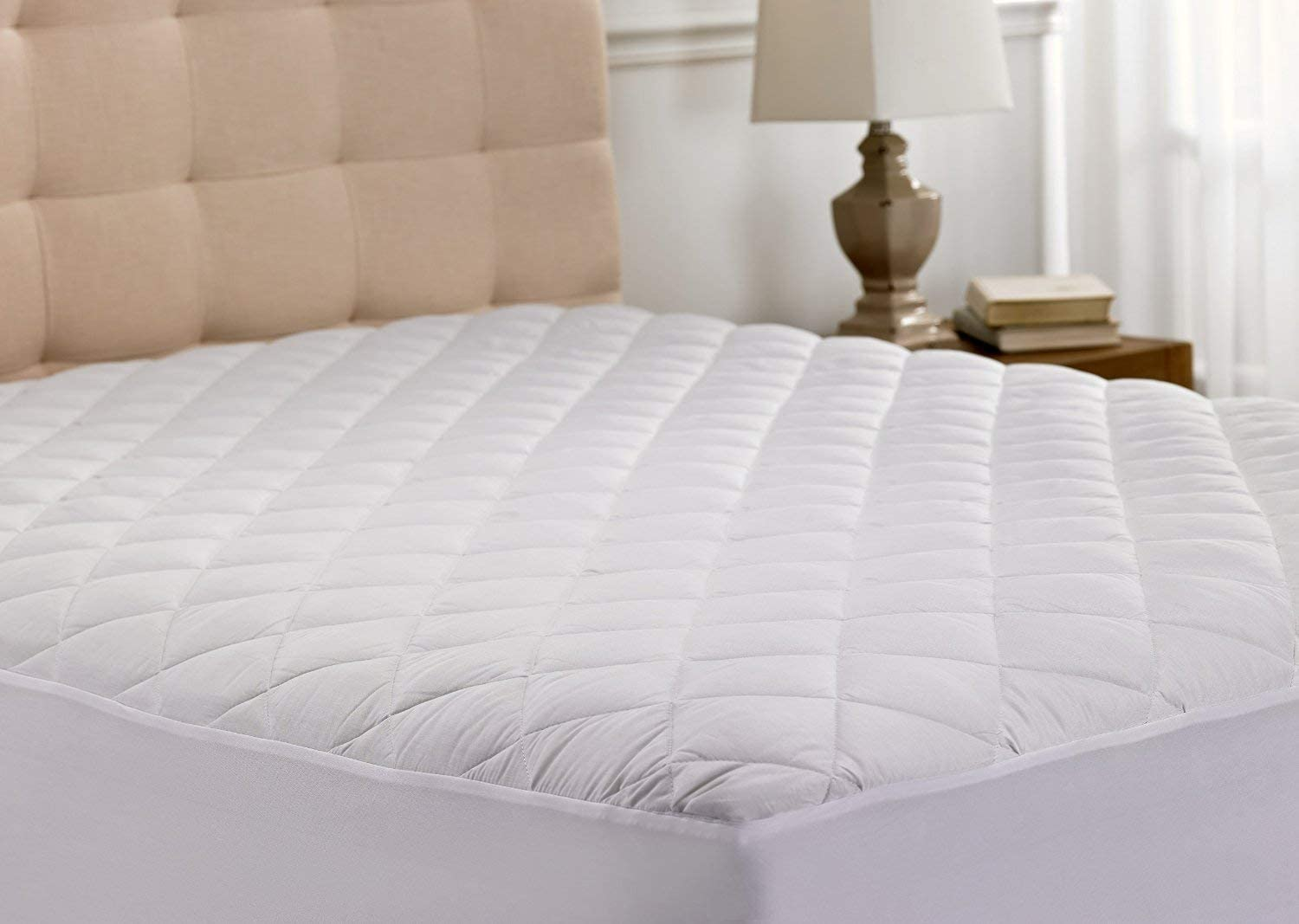 Small Double Quilted Mattress Protector Cover Extra Deep Fabric Skirt...