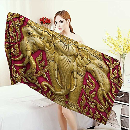 Adults Soft Absorbent Quick Dry Blanket Elephant Yellow Toned Elephant Motif on Door Thai Temple Spirituality Statue Classic Large Bath Towel 55''x27.5'' Fuchsia Mustard by Anhounine