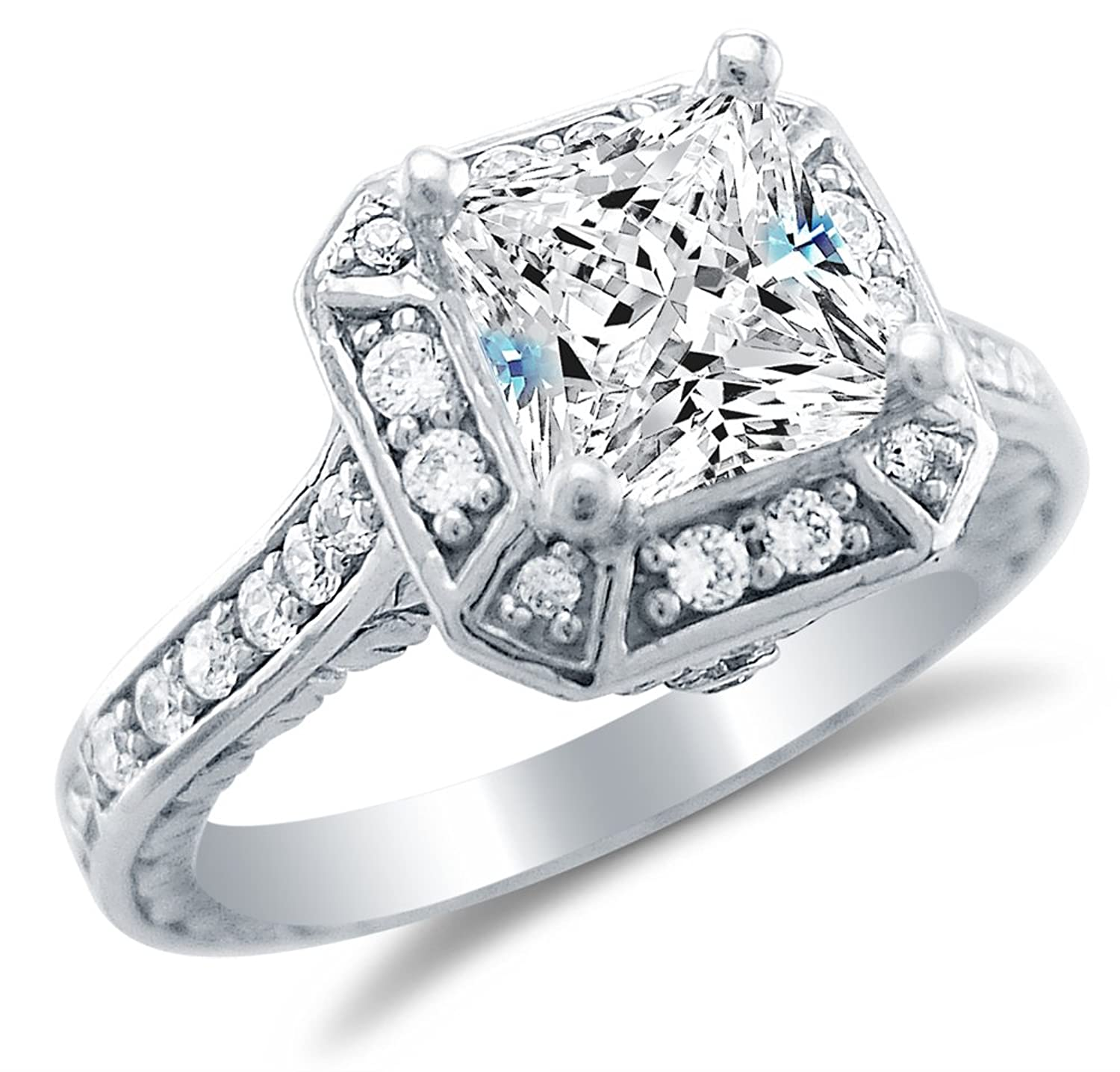 Solid 925 Sterling Silver Princess Cut Solitaire with Round Side Stones Highest Quality CZ Cubic Zirconia Engagement Ring 2.0ct. With Elegant Velvet Ring Box