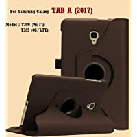"ST Creation for Samsung Galaxy Tab A 2017(8"" Inch) SM-T385 Case Cover 360 Degrees PU Leather Rotating Stand Smart Flip Fashion Full Safety Case Cover for Samsung TAB A(2017-8"" Inch) (CoffeeBrown)"