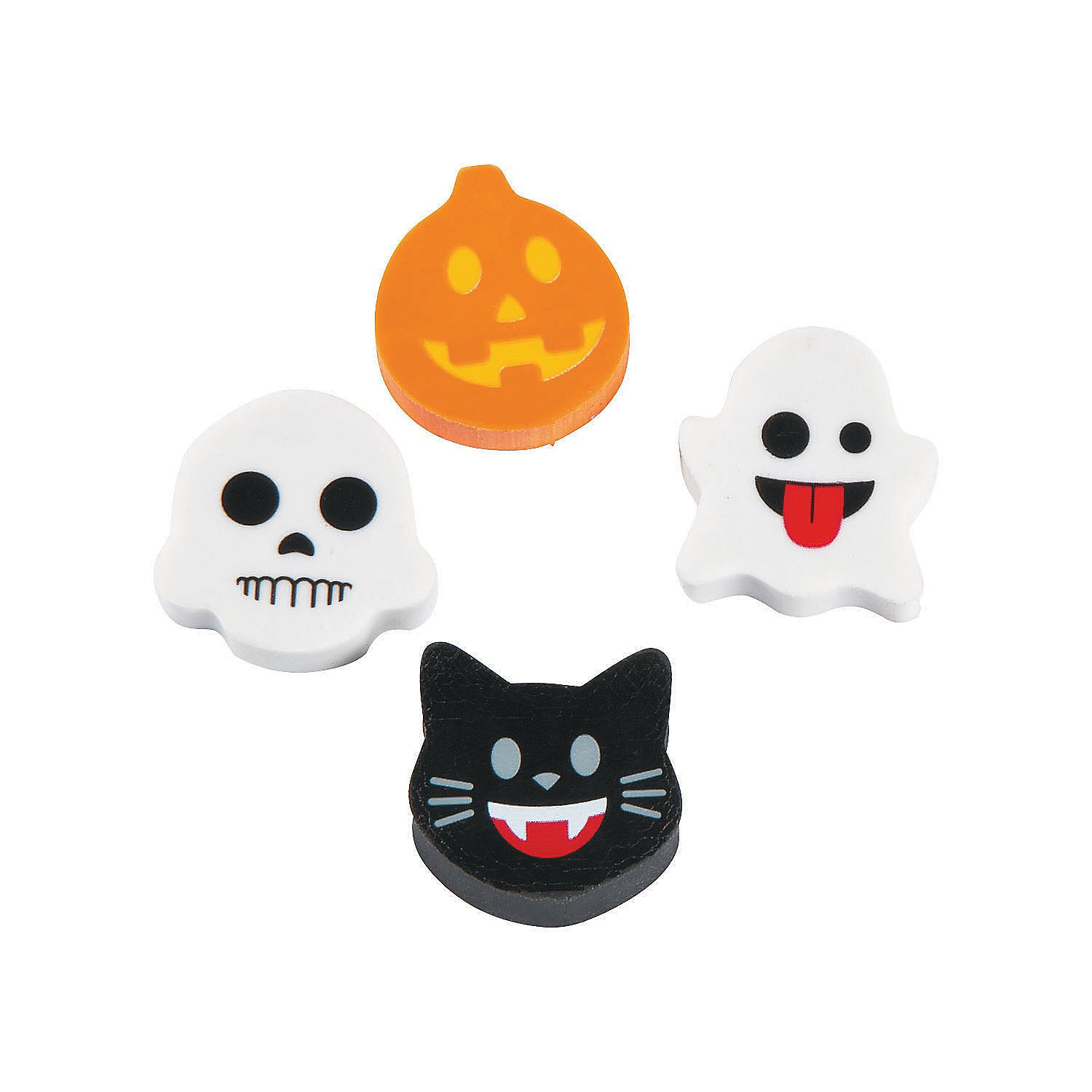 144 pcs Fun Express Assorted Mini Halloween Emoji Erasers