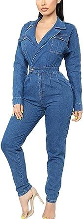 Zilcremo Femmes Denim Combinaisons Manches Longues Plein Jeans Salopette Barboteuses Ensemble