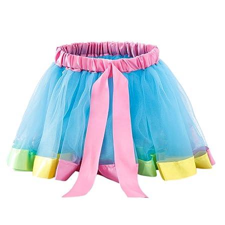 VIccoo Falda tutú plisada para niñas y niñas, con borde de satén ...