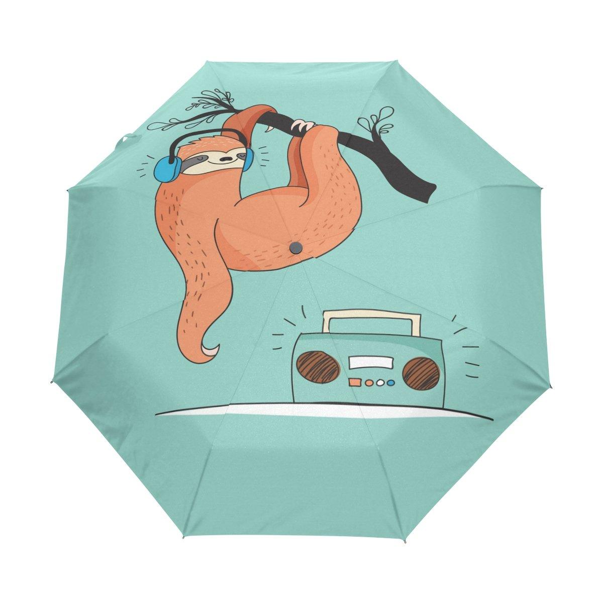 Senya Saobao防風と防雨トラベル傘自動開いて閉じFoldingの音楽Bearポータブル折りたたみ式太陽雨傘 B07FPFFX81