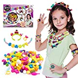 Pop Snap Beads Set with Letters DIY Jewelry Making Kit for Necklace,Ring,and Bracelet for Ages 3 180 PCS by Little-KINDS