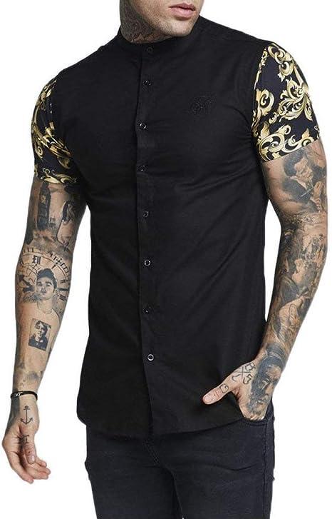 Sik Silk Grandad Collar S/s Oxford Camisa Manga Corta Hombre Negro XL (X-Large): Amazon.es: Ropa y accesorios