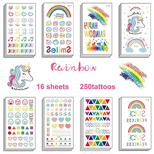Mix Cute Temporary Tattoos, 250 Designs with Rainbow Kissing Heart Musical symbol Unicorn line Smile Emoticon for Kids Children Adults for Emoji Birthday Party Favors Supplies]()