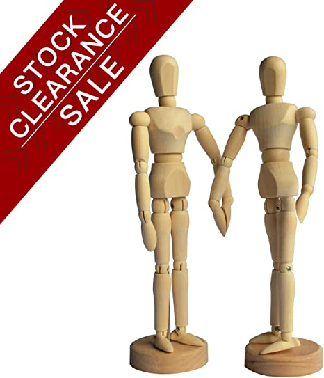 Wooden Drawing Mannequin Wood Artist Figure Doll Model Manikin with Flexible Posable Joints for Sketch Charcoal Home Office Desk Decoration Children Toys Gift 12Male