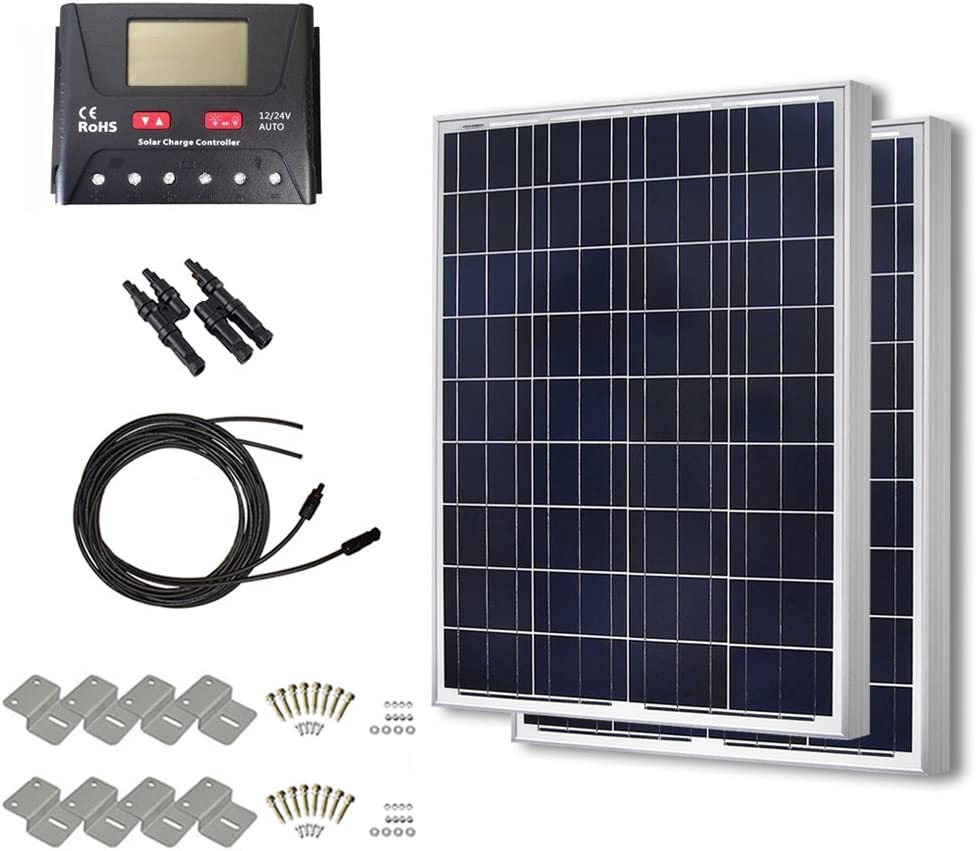 HQST 2 Packs 100 Watt 200W 12 Volt Polycrystalline Solar Panel Kit with 30A PWM LCD Common Postive Solar Charge Controller, 20Ft 12AWG Solar Cable, 2 Sets Z-Brackets, MC4 Branch Connectors