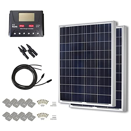 HQST 200 Watt 12 Volt Polycrystalline Solar Panel Kit with 30A PWM LCD Display Charge Controller