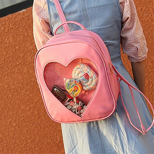 Girls Kawaii Bling Transparent Love Star School Bag Backpack (Pink) by XSCOMSPORT (Image #5)