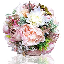 Abbie Home Peony Rose Dahlia Bridal Wedding Bouquet Bride Holding Flowers Confession Bouquet
