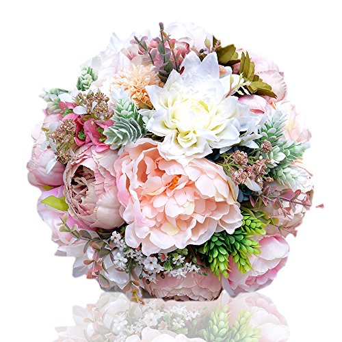Bouquet Wildflower Wedding (Zebratown 9'' Bridal Bridesmaid Wedding Bouquet Flowers Hydrangeas Handmade Real-Touch Silk Artificial Flowers Peony Rose Wedding Decoration (Peony))