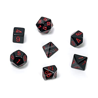 Chessex CHX25418 Dice-Opaque Black/Red Set: Toys & Games