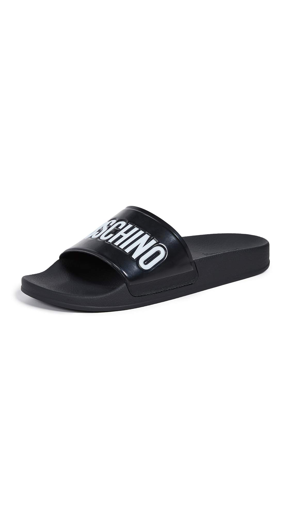 MOSCHINO Men's Pool Slides, Black, 41 M EU