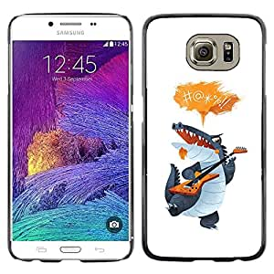 Be Good Phone Accessory // Dura Cáscara cubierta Protectora Caso Carcasa Funda de Protección para Samsung Galaxy S6 SM-G920 // Crocodile Cartoon Character Guitar Singing