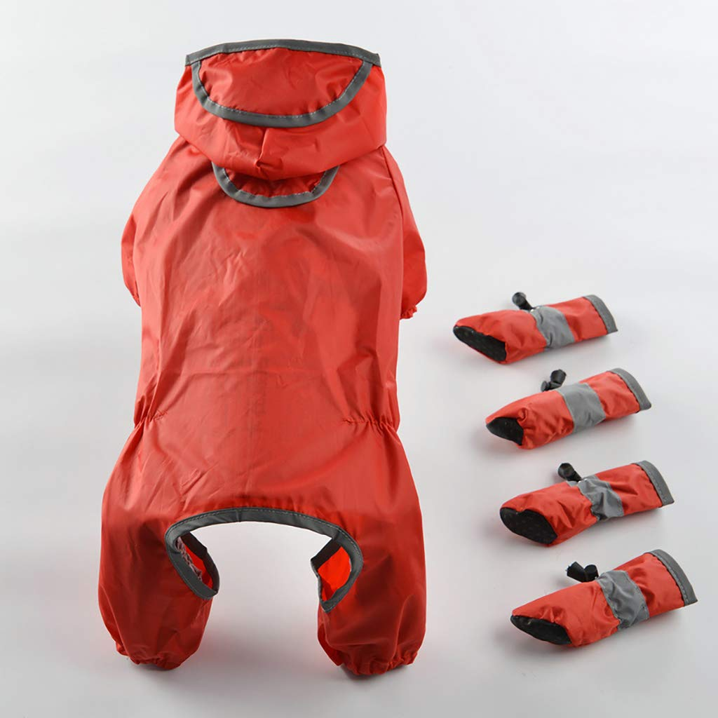 Red Small Red Small Pet Raincoat Rain Boots Teddy Bear Skid Feet Warm Warm and Comfortable Vest Jacket, Two colors Optional,Red,S