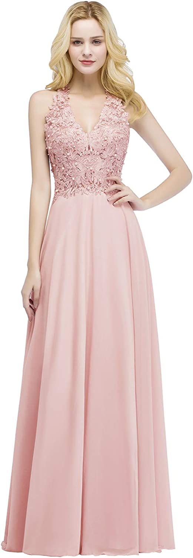 MisShow Damen Elegant Spitze Abendkleid Brautjungfernkleid Chiffon Perlenstickerei Ballkleid Maxilang EU 32-46